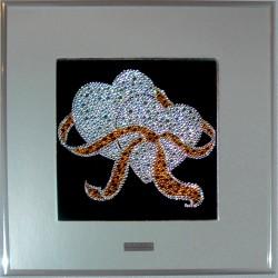 Картина из страз сваровски Два сердца белые