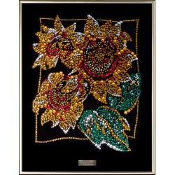 Подсолнухи из кристаллов Сваровски картина