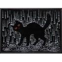 Картина из кристаллов сваровски Кошка под дождём