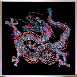 Картина из кристаллов Swarovski Дракон большой цветной