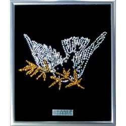 Картина из страз сваровски Голубь с оливковой веткой 2