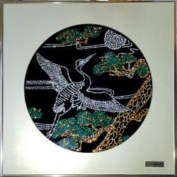 Картина из кристаллов сваровски Цапля летящая цветная
