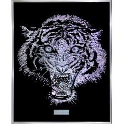 Картина из страз сваровски Голова тигра белая