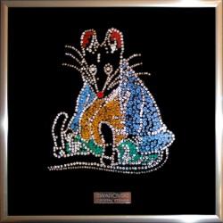 Картина из страз сваровски Крыса с усами новогодняя