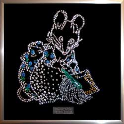 Картина из страз сваровски Мышь с веником на Новый год
