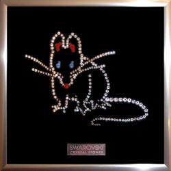 Картина из страз сваровски Крыса (мышь) новогодняя