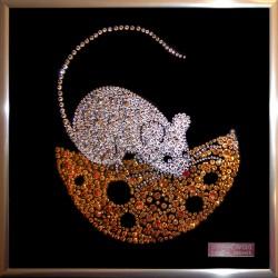 Картина из страз сваровски Мышь с сыром на Новый год
