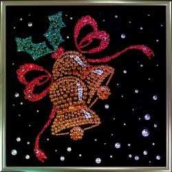 Картина из страз сваровски Новогодние колокольчики